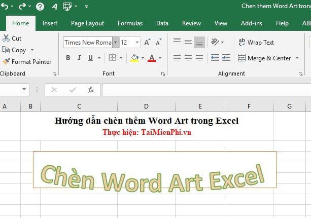 huong dan chen them word art trong excel 14