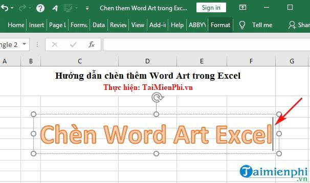 huong dan chen them word art trong excel 3