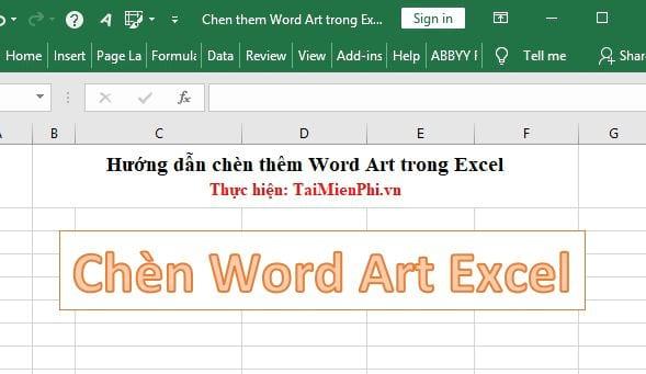 huong dan chen them word art trong excel 10