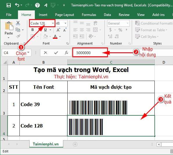 Hướng dẫn tạo mã vạch trong Word, Excel