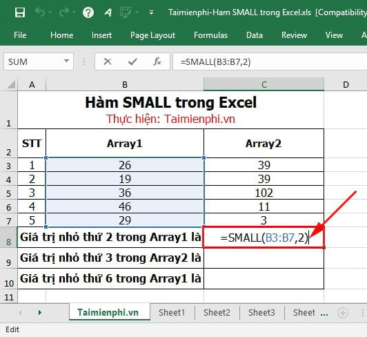 Hàm SMALL trong Excel 2