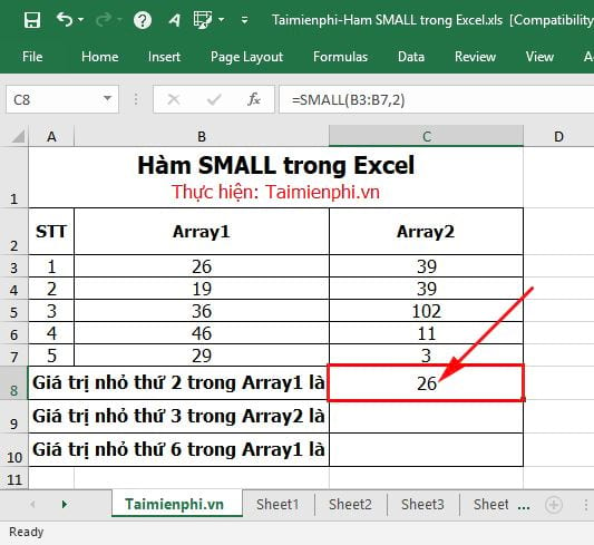 Hàm SMALL trong Excel 3