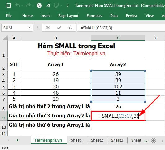 Hàm SMALL trong Excel 4