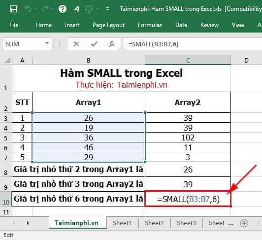 Hàm SMALL trong Excel 6