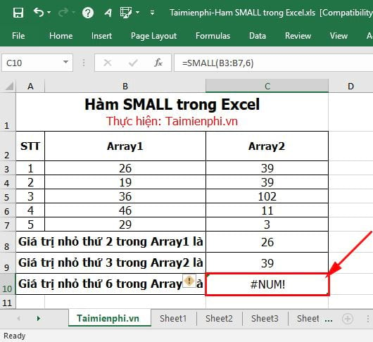 Hàm SMALL trong Excel 7
