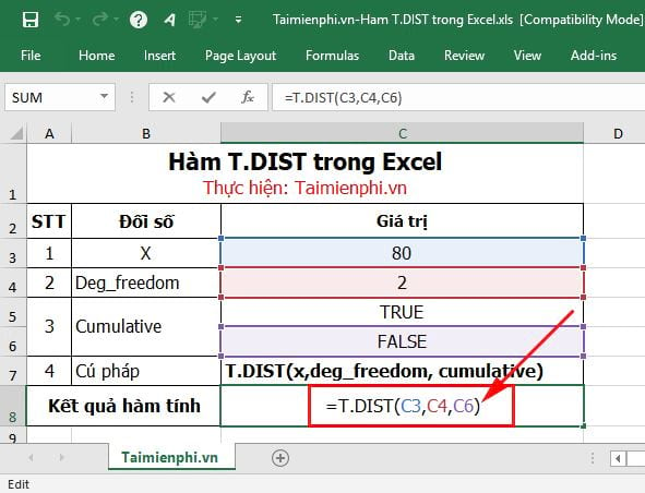 cach su dung ham t dist trong excel