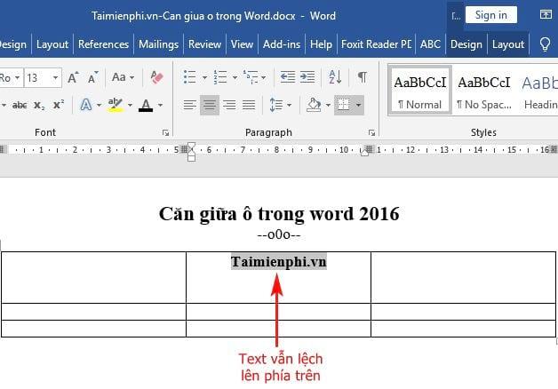 Cách căn giữa ô trong Word 2016 3