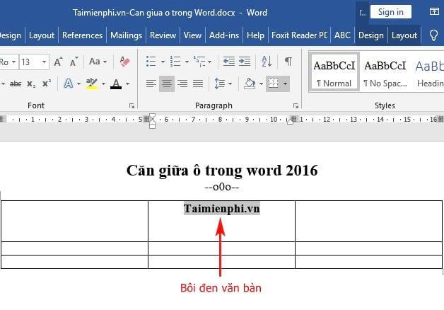 Cách căn giữa ô trong Word 2016 4