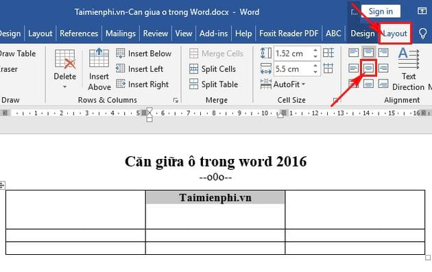 Cách căn giữa ô trong Word 2016 5