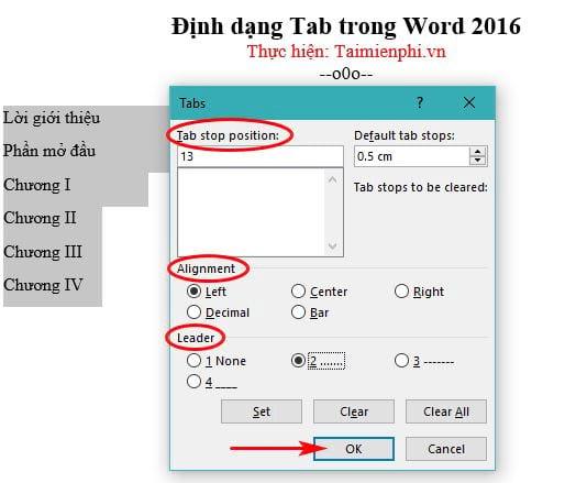 Cách định dạng Tab trong Word 2016 4
