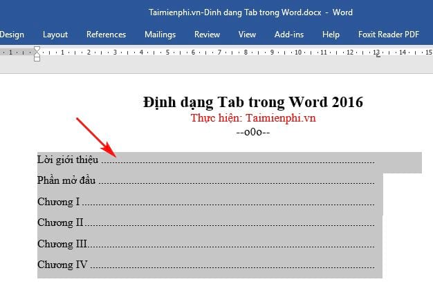 Cách định dạng Tab trong Word 2016 5