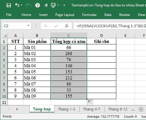 Tổng hợp dữ liệu từ nhiều Sheet trong Excel 8