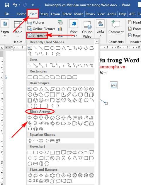 Cách viết dấu mũi tên trong Word 12
