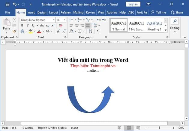 Cách viết dấu mũi tên trong Word 13