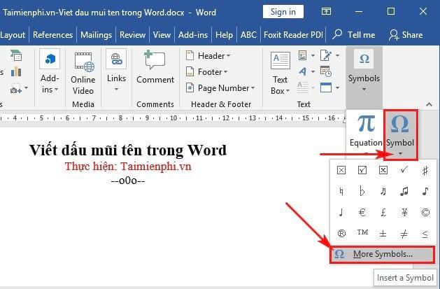 Cách viết dấu mũi tên trong Word 2