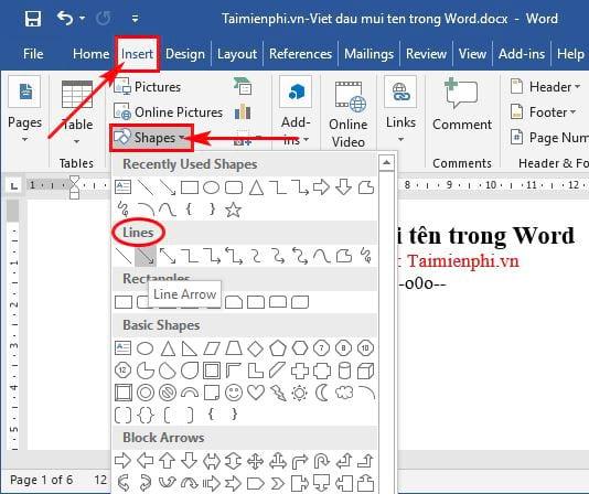 Cách viết dấu mũi tên trong Word 6