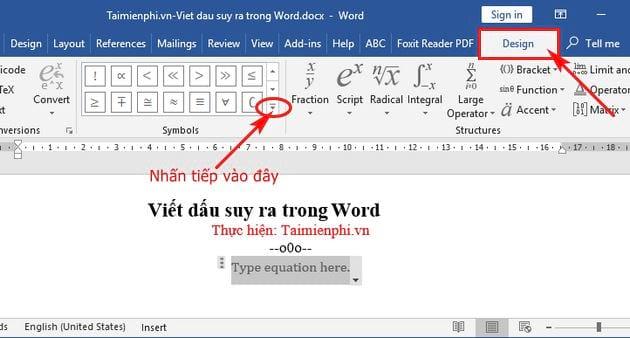 Cách viết dấu suy ra trong Word 2