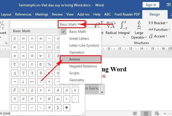 Cách viết dấu suy ra trong Word 3