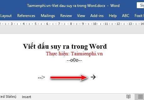 Cách viết dấu suy ra trong Word 6