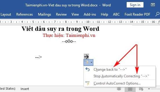 Cách viết dấu suy ra trong Word 7