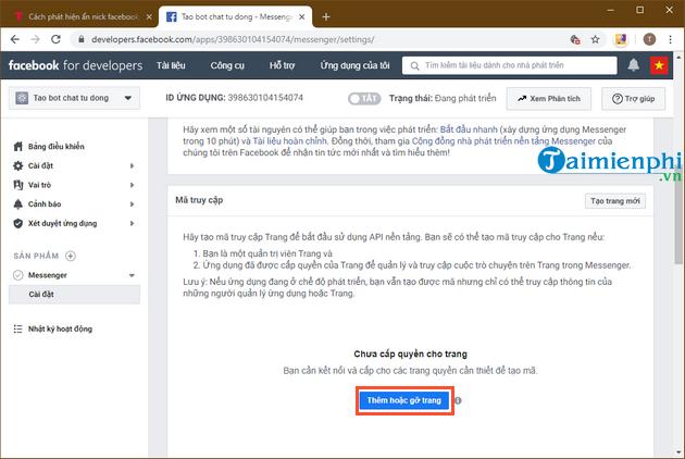 Tự tạo chatbot Facebook, trả lời tin nhắn tự động Messenger 5