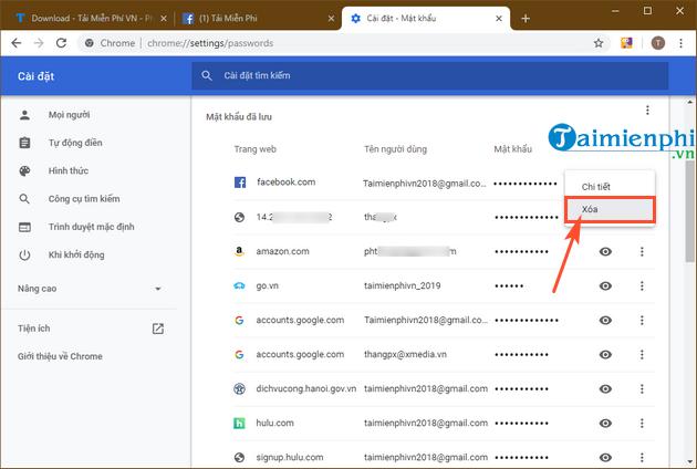 Cách xóa mật khẩu Facebook lưu trên Chrome, Cốc Cốc