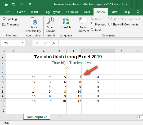 cach tao ghi chu trong excel 2019
