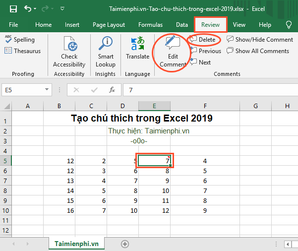 cach tao comoment trong excel 2019