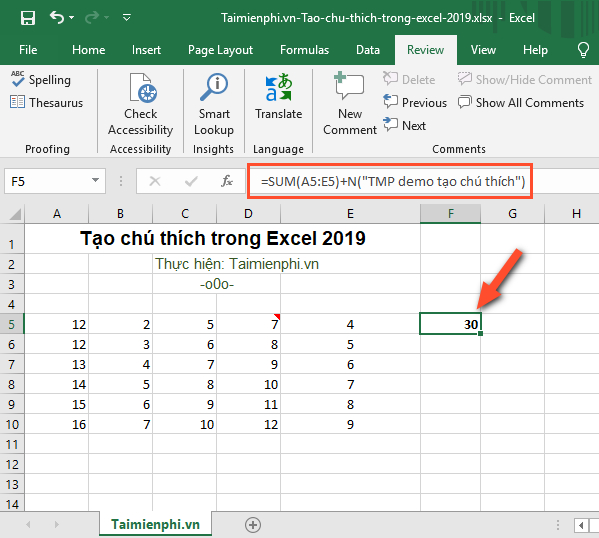 cach tao chu thich trong microsoft excel 2019