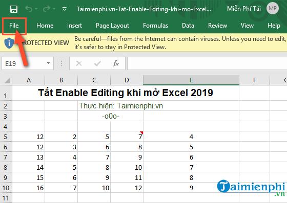 cach tat enable editing khi mo excel 2019