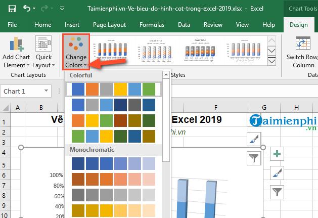 Cách vẽ biểu đồ hình cột trong Excel 2019, 2016, 2013, 2010, 2007, 2003 8