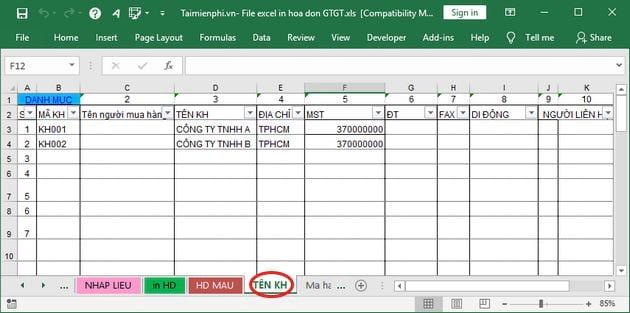 File Excel in hóa đơn GTGT 3