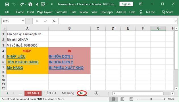 File Excel in hóa đơn GTGT 5