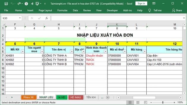 File Excel in hóa đơn GTGT 7