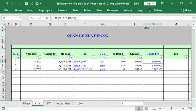 [TaiMienPhi.Vn] File excel quản lý bán hàng chuẩn nhất