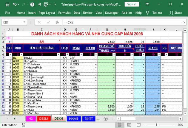 File Excel quản lý công nợ 2