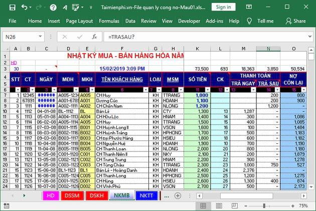 File Excel quản lý công nợ 3