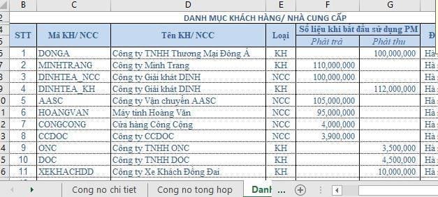 File Excel quản lý công nợ 5