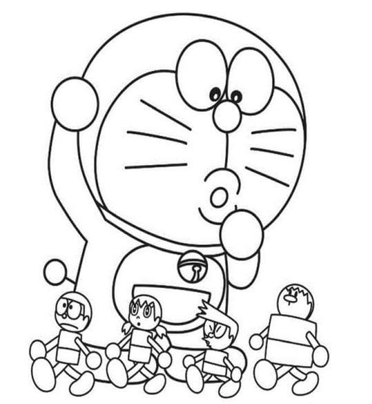 Hình tô màu Doremon cho bé tập tô 11