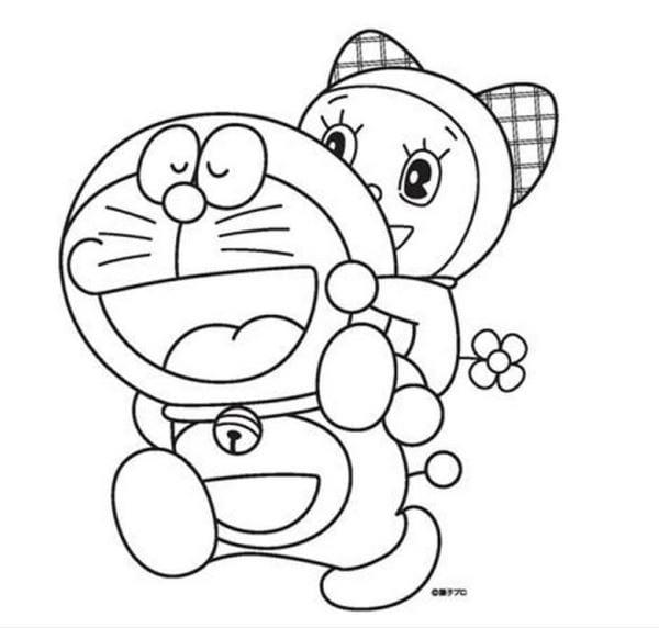 Hình tô màu Doremon cho bé tập tô 2