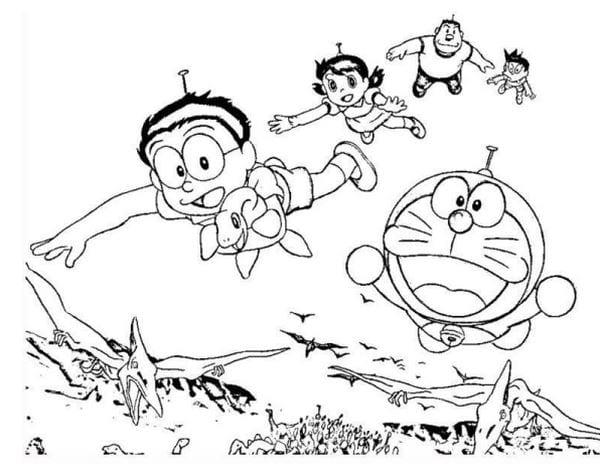 Hình tô màu Doremon cho bé tập tô 20