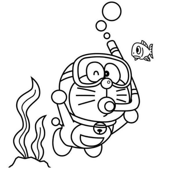 Hình tô màu Doremon cho bé tập tô 3