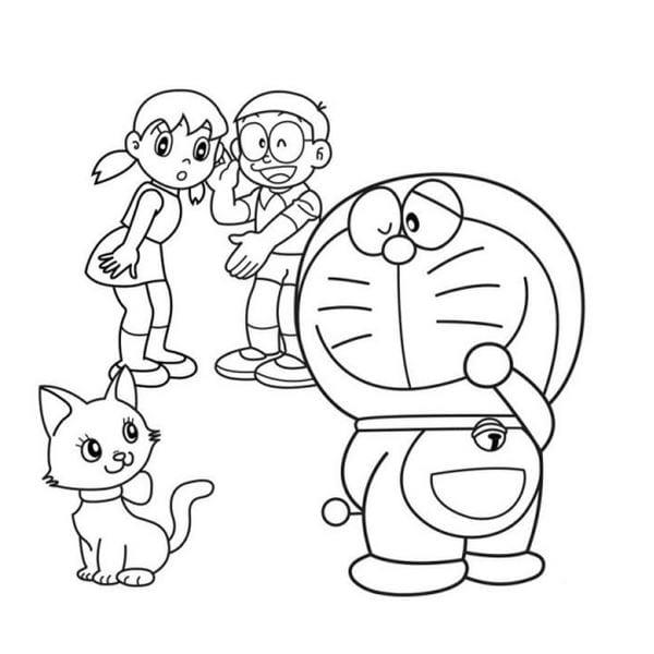 Hình tô màu Doremon cho bé tập tô 4