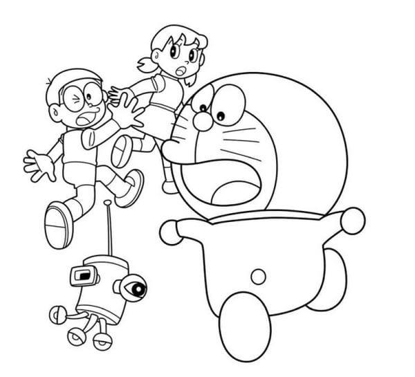 Hình tô màu Doremon cho bé tập tô 5