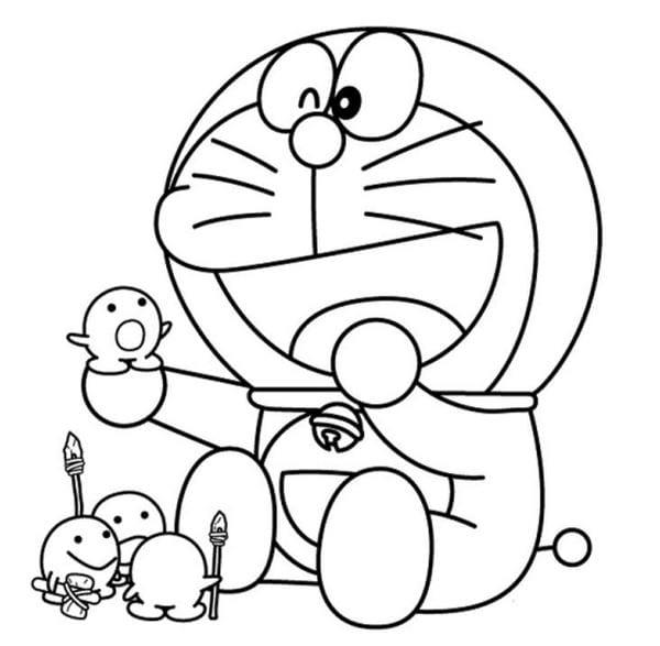 Hình tô màu Doremon cho bé tập tô 6