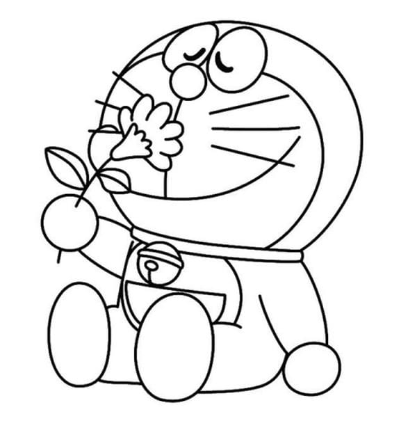 Hình tô màu Doremon cho bé tập tô 7
