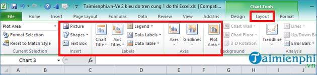 Vẽ 2 biểu đồ trên cùng 1 đồ thị trong Excel 10