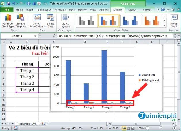 Vẽ 2 biểu đồ trên cùng 1 đồ thị trong Excel 3