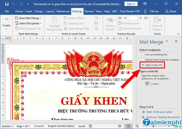 How to print the certificate of merit in the collection 6