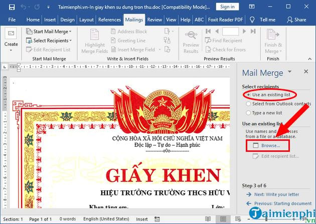 How to print the certificate of merit in the collection 7